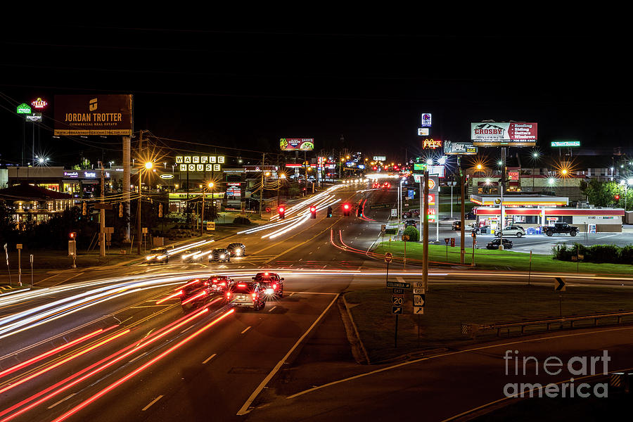 Washington Road at Night - Augusta GA by SANJEEV SINGHAL