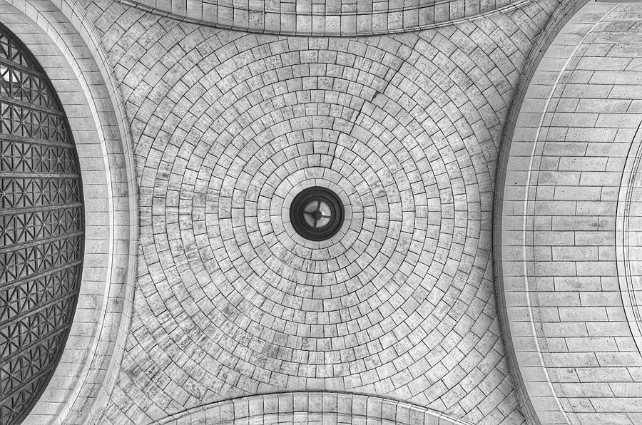Washington Union Station Ceiling 2 Washington D.C. - Black and White  by Marianna Mills