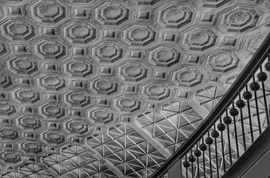 Washington Union Station Ceiling Washington D.C. - Black and White by Marianna Mills