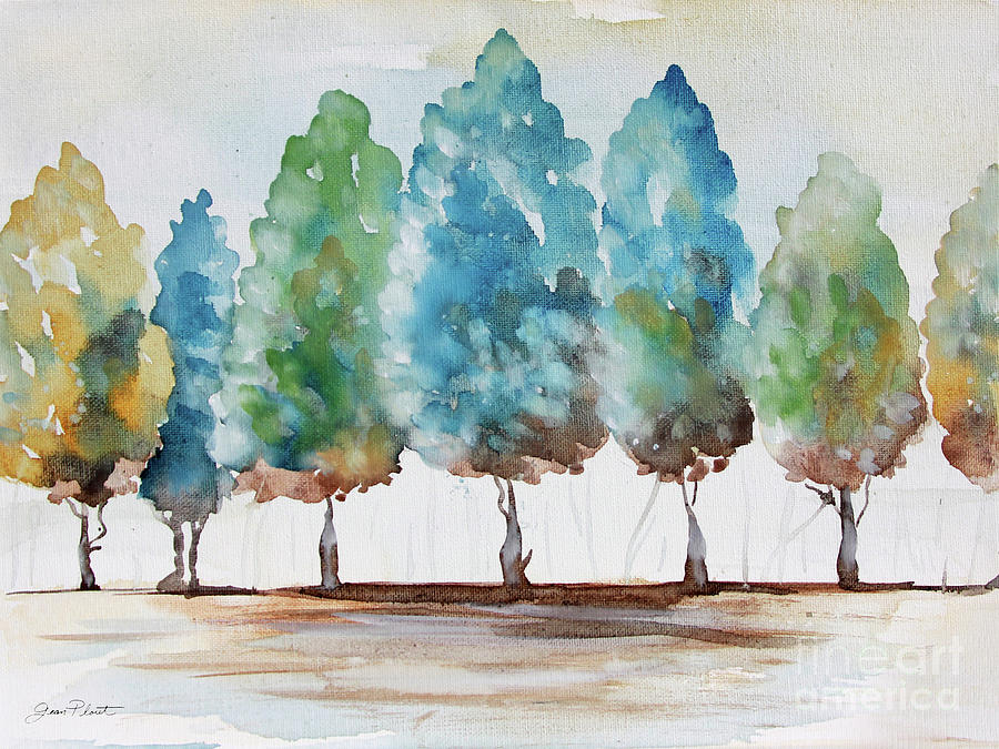 Trees Painting - Washy Blue Trees A by Jean Plout