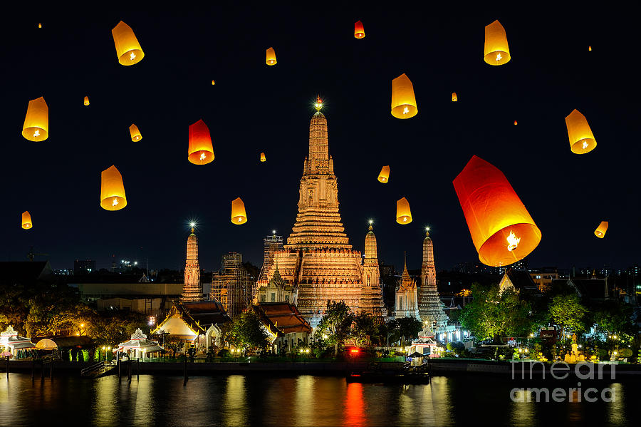 Symbol Photograph - Wat Arun Under Loy Krathong Day by Travelerpix