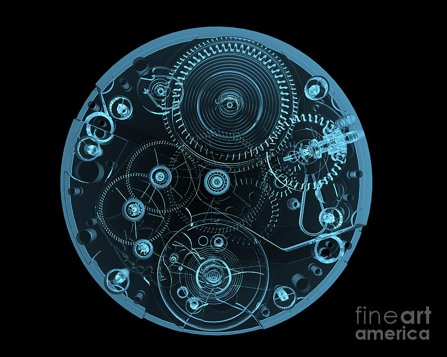Steel Digital Art - Watch Internals X-ray Blue Transparent by X-ray Pictures