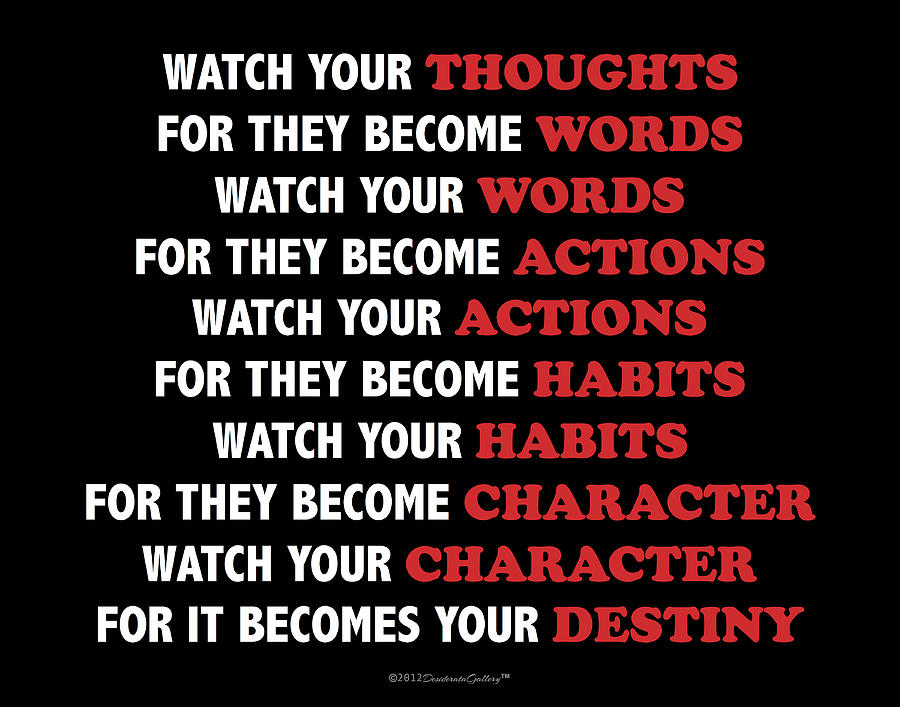 Watch Your Thoughts Motivational Destiny Buddha Poster Photo Card by Desiderata Gallery