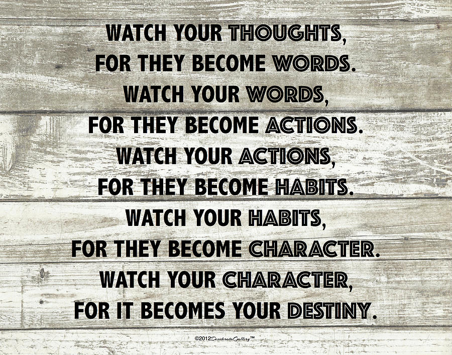 Watch Your Thoughts Motivational Destiny Buddha Quote Poster On Wood Plank