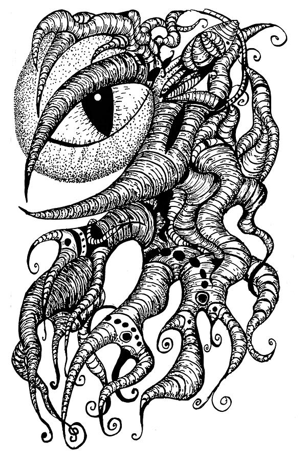 Watching Eye Creature with Tentacles by Yulia Kazansky