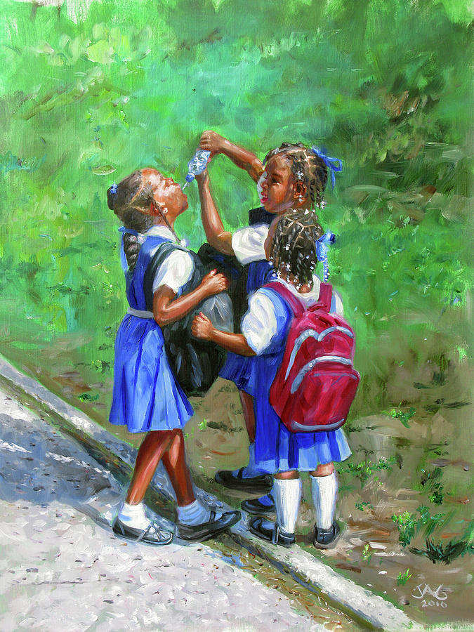 Schoolchildren Painting - Water Bottle by Jonathan Guy-Gladding JAG
