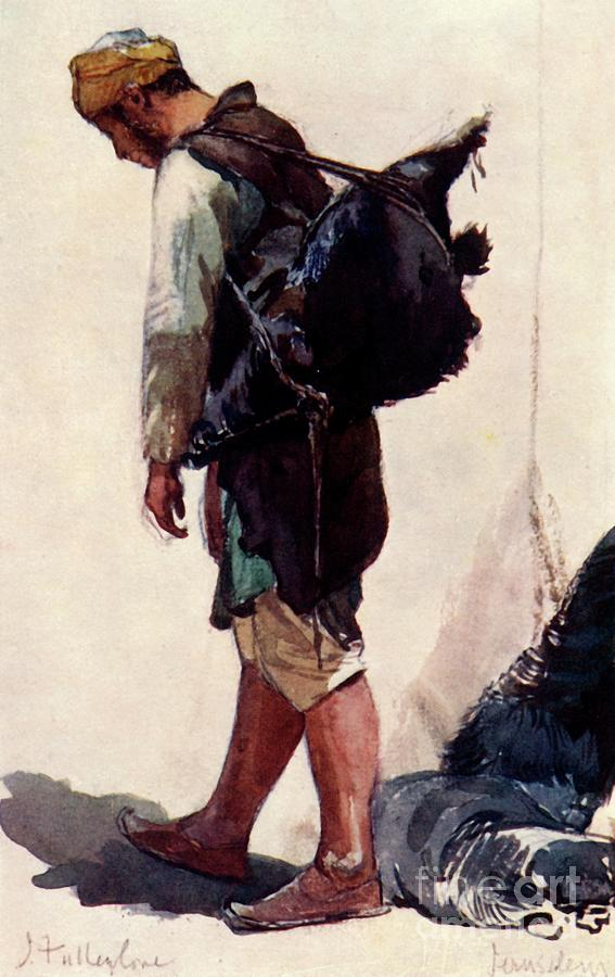 Water-carrier Standing Figure Drawing by Print Collector