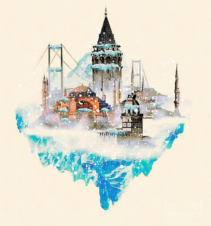 Year Digital Art - Water Color Illustration Istanbul City by Trentemoller