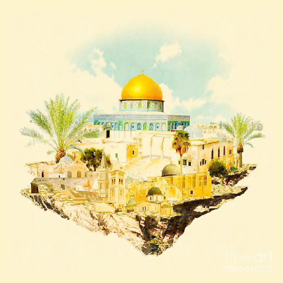Gouache Digital Art - Water Color Illustration Jerusalem View by Trentemoller
