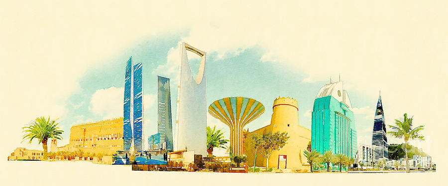 Gouache Digital Art - Water Color Illustration Riyadh City by Trentemoller