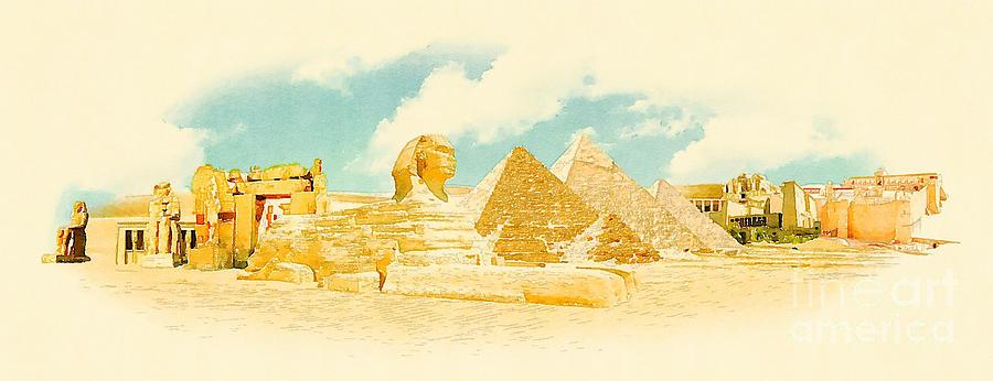 Symbol Digital Art - Water Color Panoramic Egypt Illustration by Trentemoller