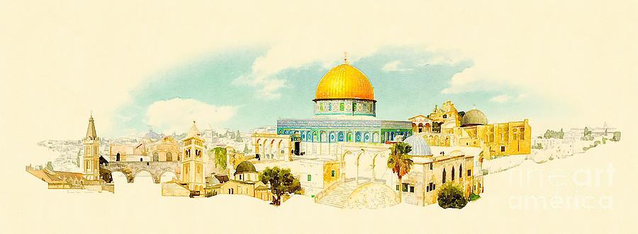 Gouache Digital Art - Water Color Panoramic Jerusalem by Trentemoller