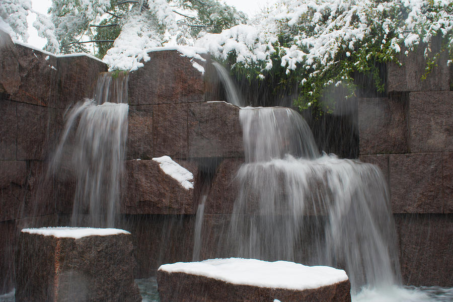 Water falling and snow by MARVIN BOWSER