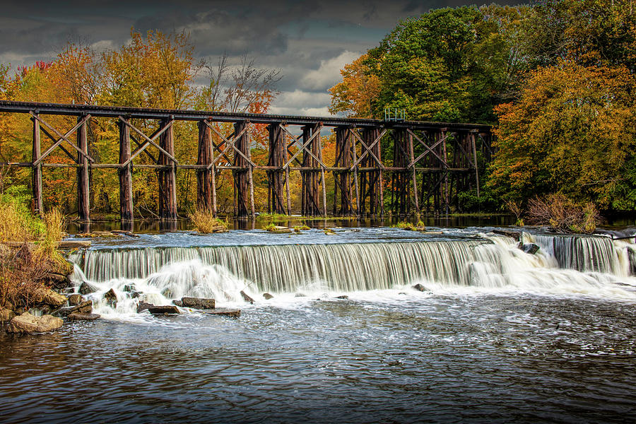 Water Falls and Old Train Trestle in Autumn by Randall Nyhof