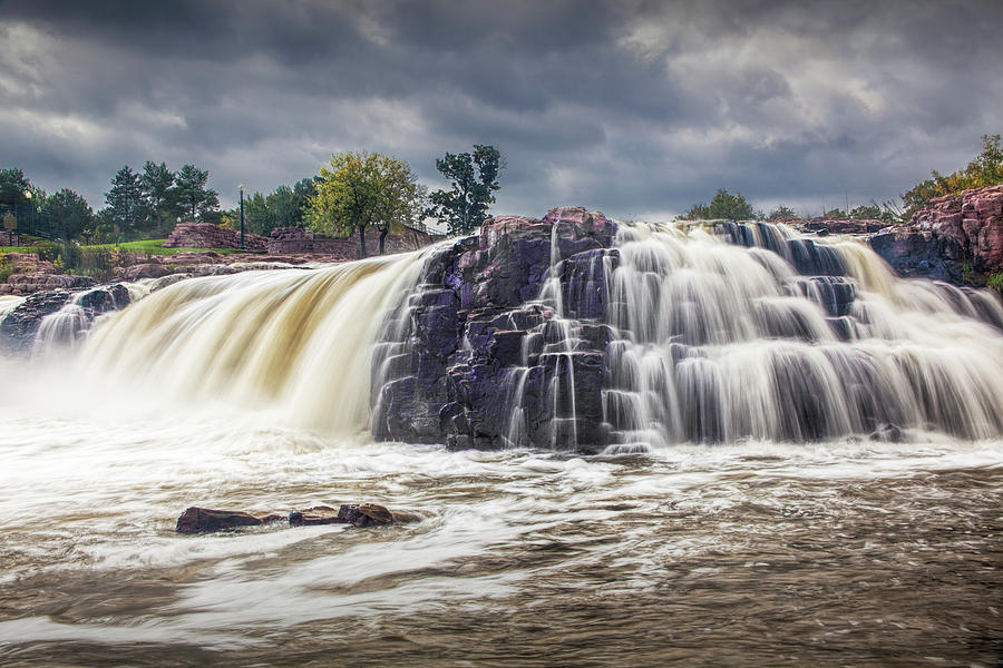 Water Falls at Falls Park in Sioux Falls South Dakota by Randall Nyhof