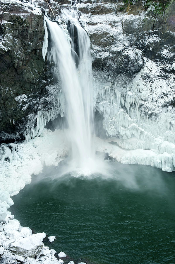 Season Photograph - Water Gushing Down Frozen Snoqualmie by Aaron Mccoy