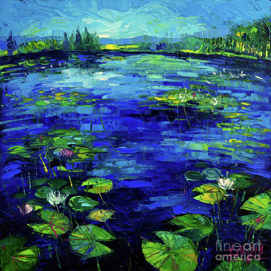 Water Lilies Painting - Water Lilies Story Impressionistic Impasto Palette Knife Oil Painting Mona Edulesco by Mona Edulesco