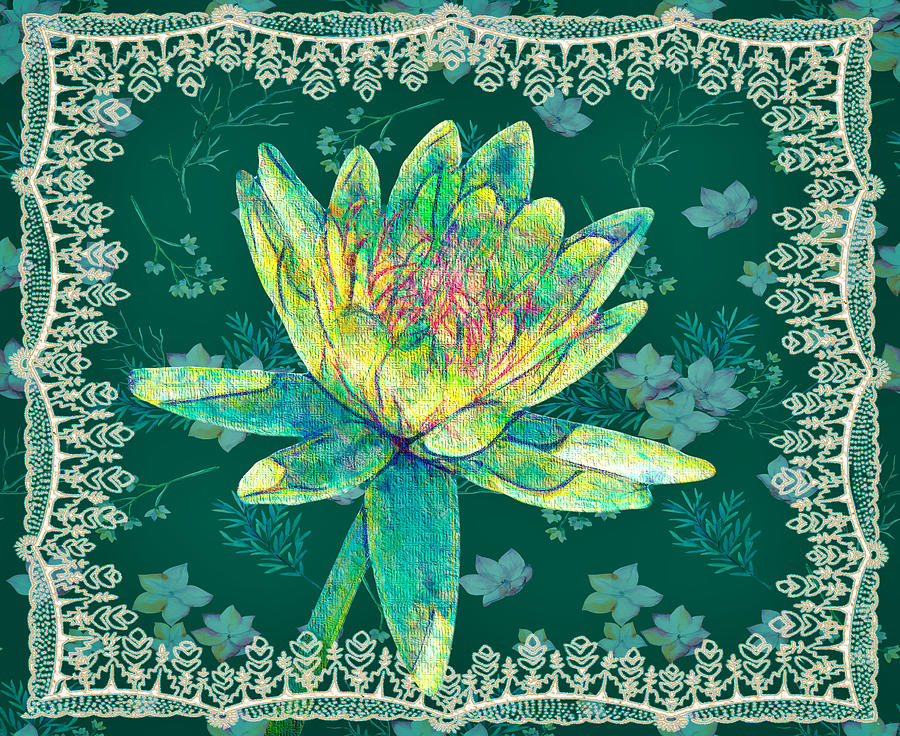 Water Lily Mixed Media - Water Lily And Lace by Rosalie Scanlon