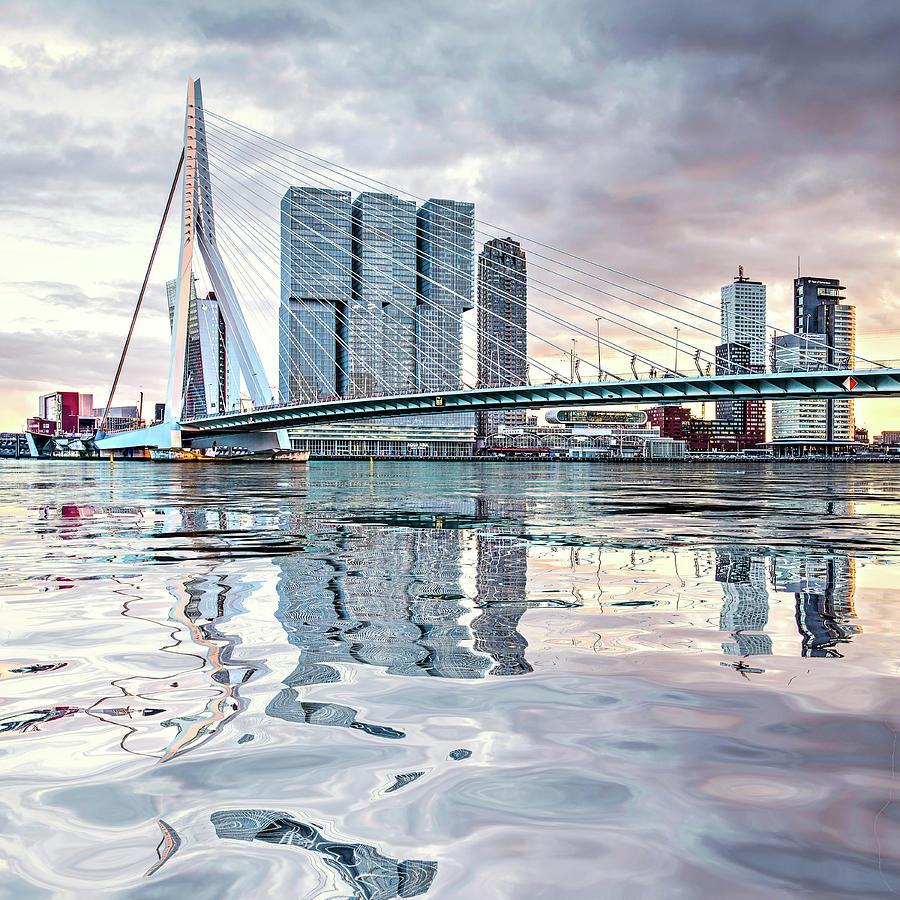 Water Reflection Erasmus Bridge by Frans Blok