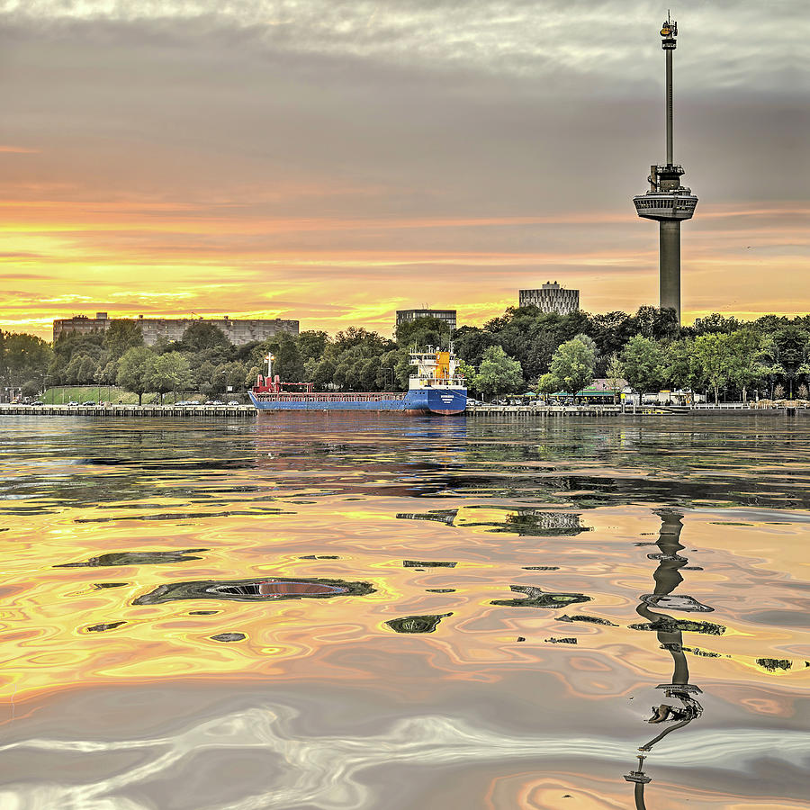 Water Reflection Euromast Rotterdam by Frans Blok
