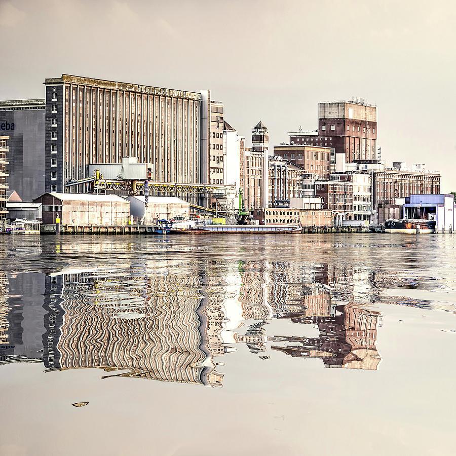 Water Reflection Grain Silo Rotterdam by Frans Blok