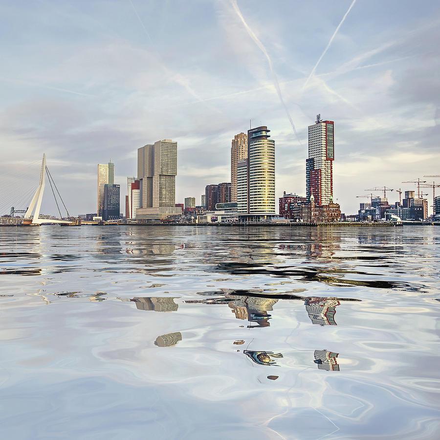 Water Reflection Nieuwe Maas River Rotterdam by Frans Blok