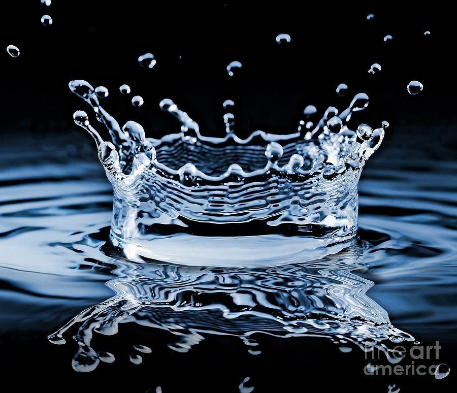 Drop Photograph - Water Splash On Black Background by 26kot