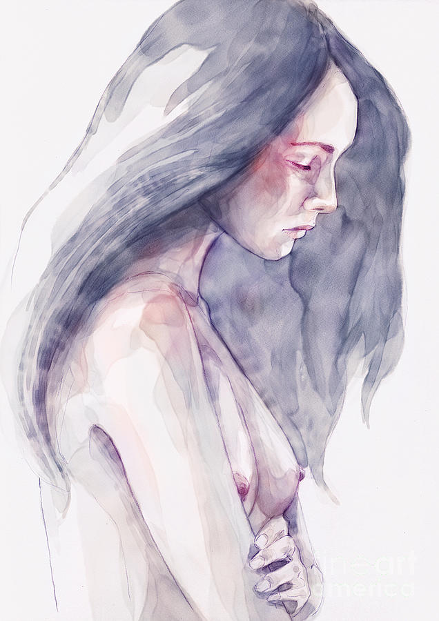 Watercolor abstract portrait of a girl by Dimitar Hristov