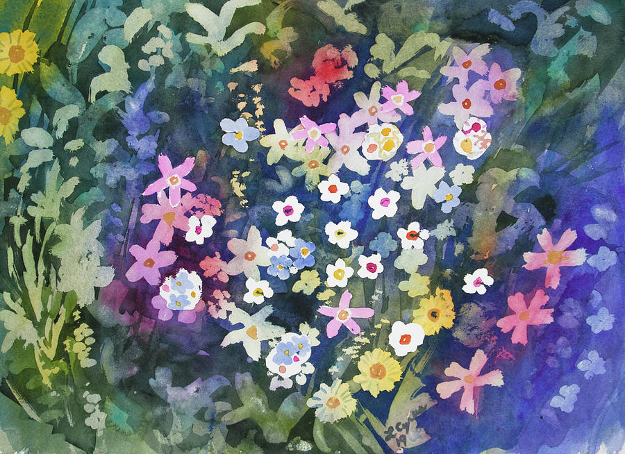 Alpine Painting - Watercolor - Alpine Wildflower Design by Cascade Colors