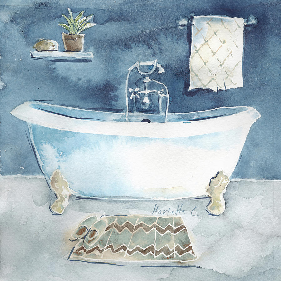 Watercolor Bathroom I Painting By Marietta Cohen Art And Design