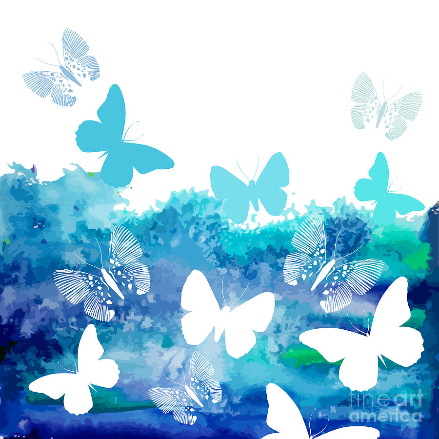 Delicate Digital Art - Watercolor Blue Background With by Ihnatovich Maryia
