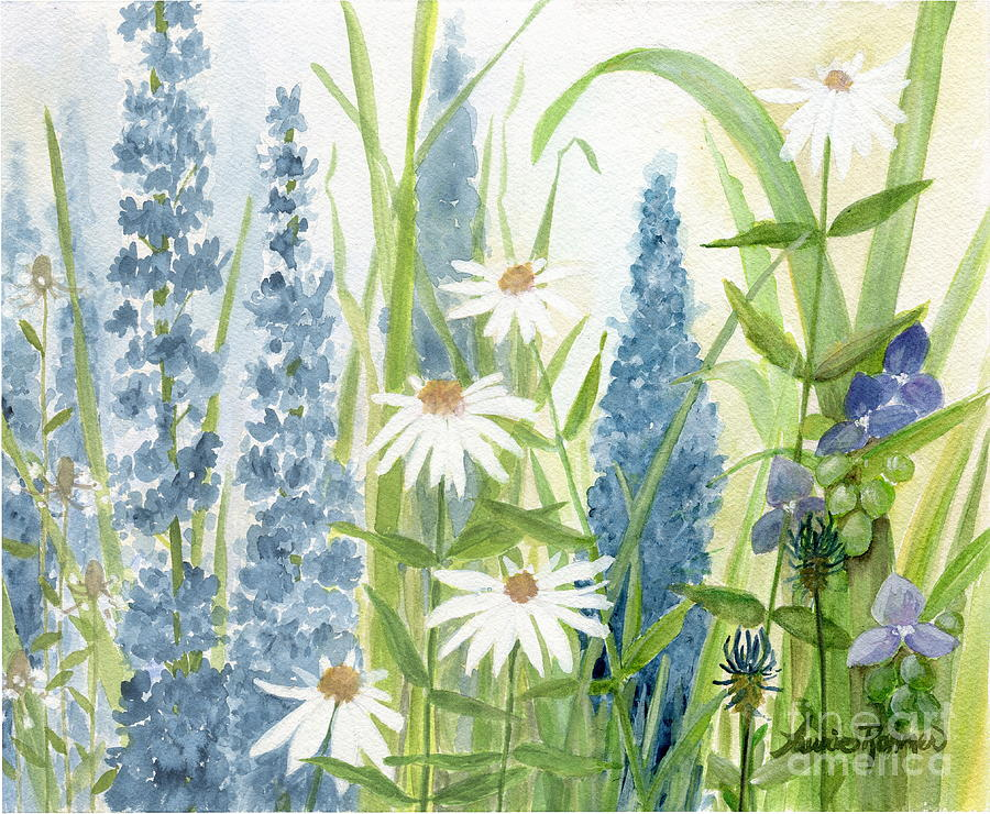 Watercolor Blue Flowers by Laurie Rohner