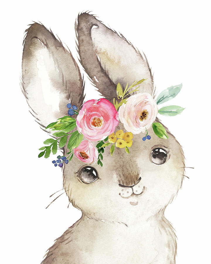 Bunny Digital Art - Watercolor Boho Bunny Rabbit Art Print by Pink Forest Cafe