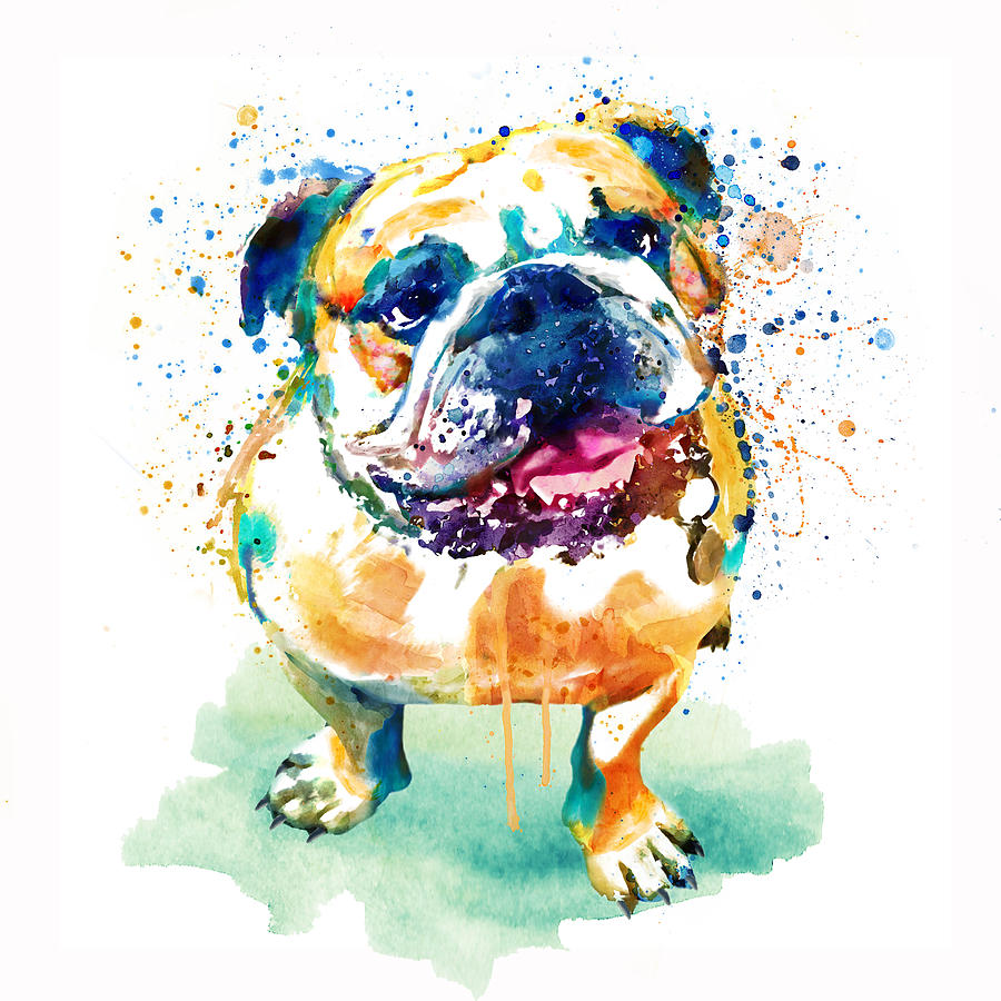 Watercolor Painting - Watercolor Bulldog by Marian Voicu
