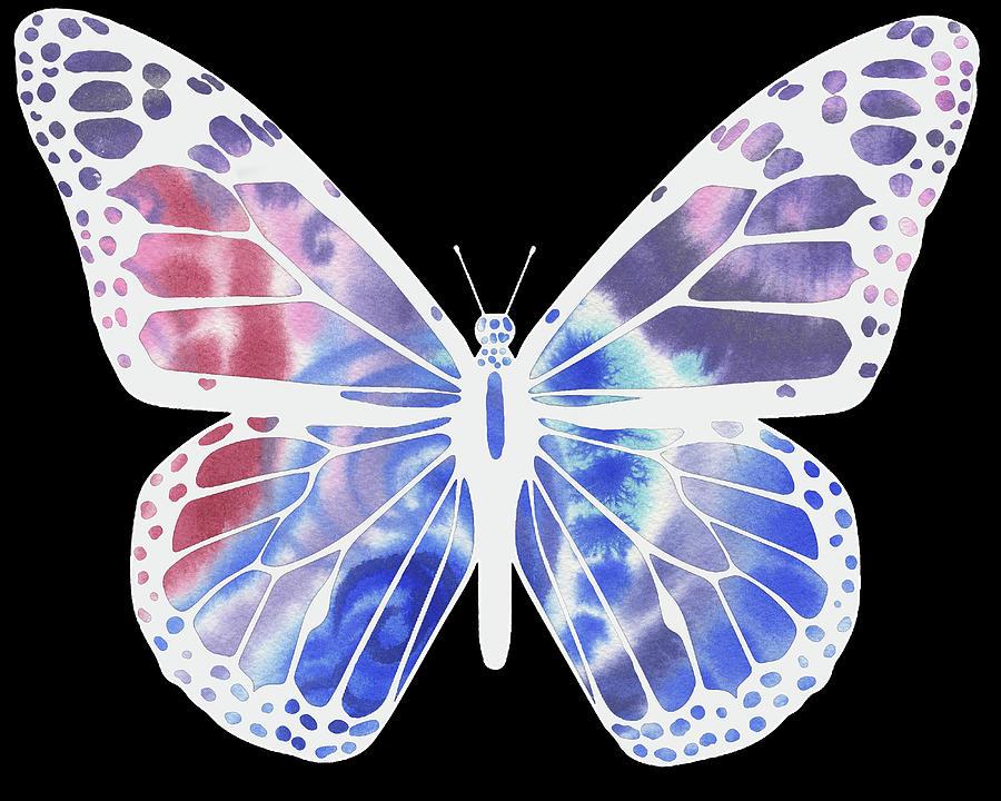 Butterfly Painting - Watercolor Butterfly On Black V by Irina Sztukowski