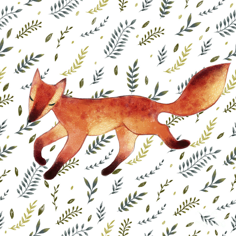 Forest Digital Art - Watercolor Cute Running Fox With Green by Maria Sem