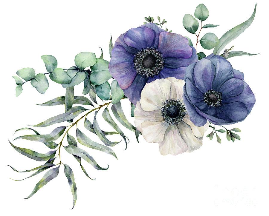 Watercolor Elegant Bouquet Digital Art by Yuliya Derbisheva