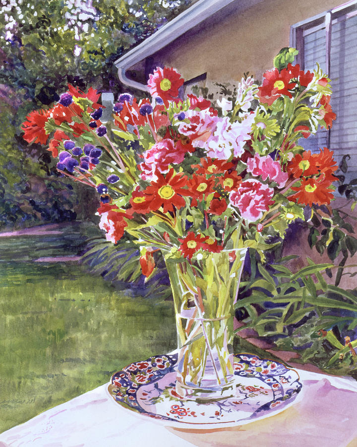 WATERCOLOR FLOWERS IN GLASS by David Lloyd Glover