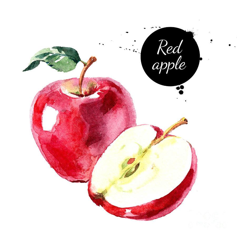 Symbol Digital Art - Watercolor Hand Drawn Red Apple by Pimlena
