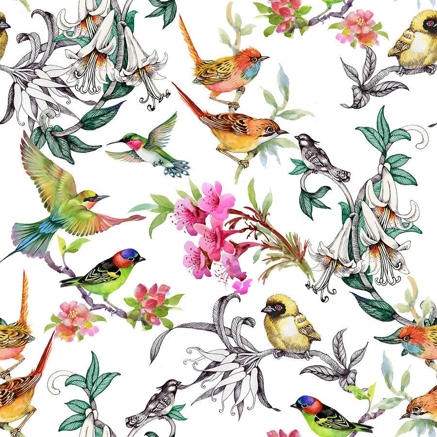Feather Digital Art - Watercolor Hand Drawn Seamless Pattern by Kostanproff