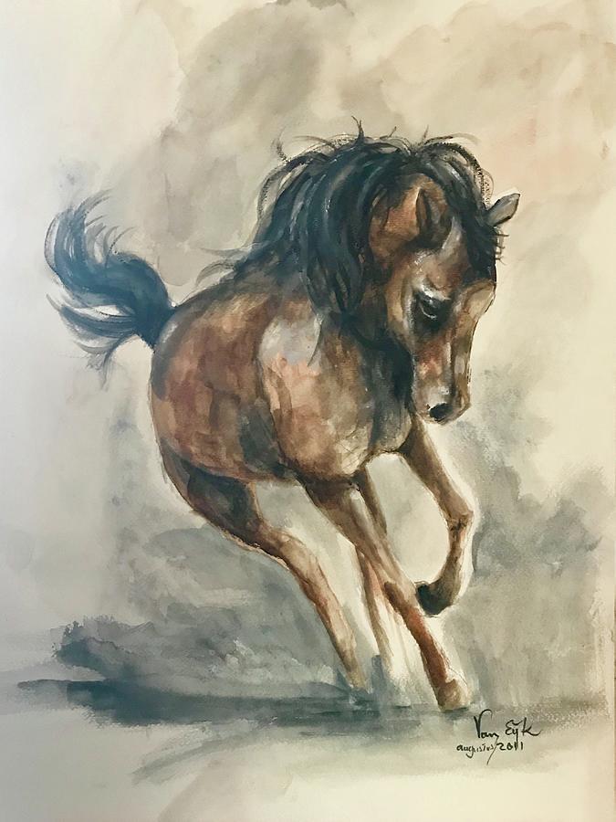 Horse Painting - Watercolor Horse by Gea Van Eijk