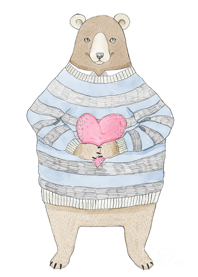 Birthday Digital Art - Watercolor Illustration Cute Bear by Maria Sem