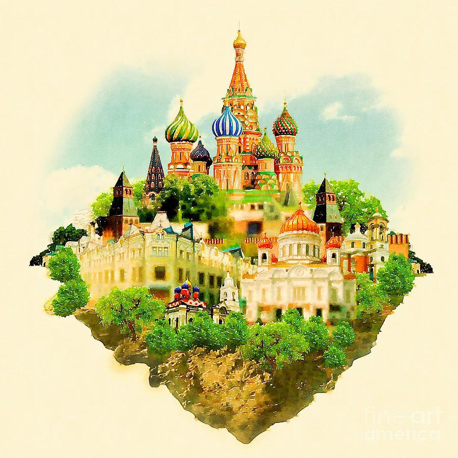 Symbol Digital Art - Watercolor Illustration Moscow Scene by Trentemoller
