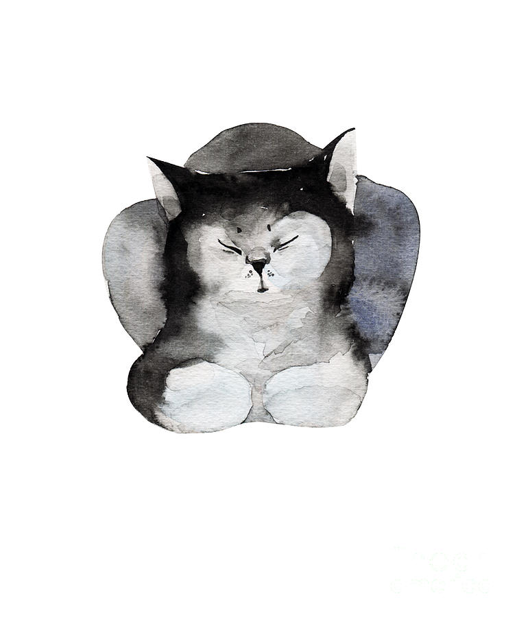 Small Digital Art - Watercolor Illustration Of Cat For by Kat branches