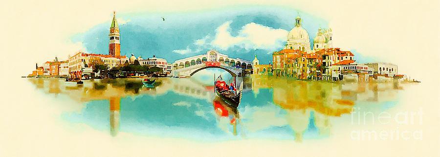 Monuments Digital Art - Watercolor Illustration Panoramic by Trentemoller