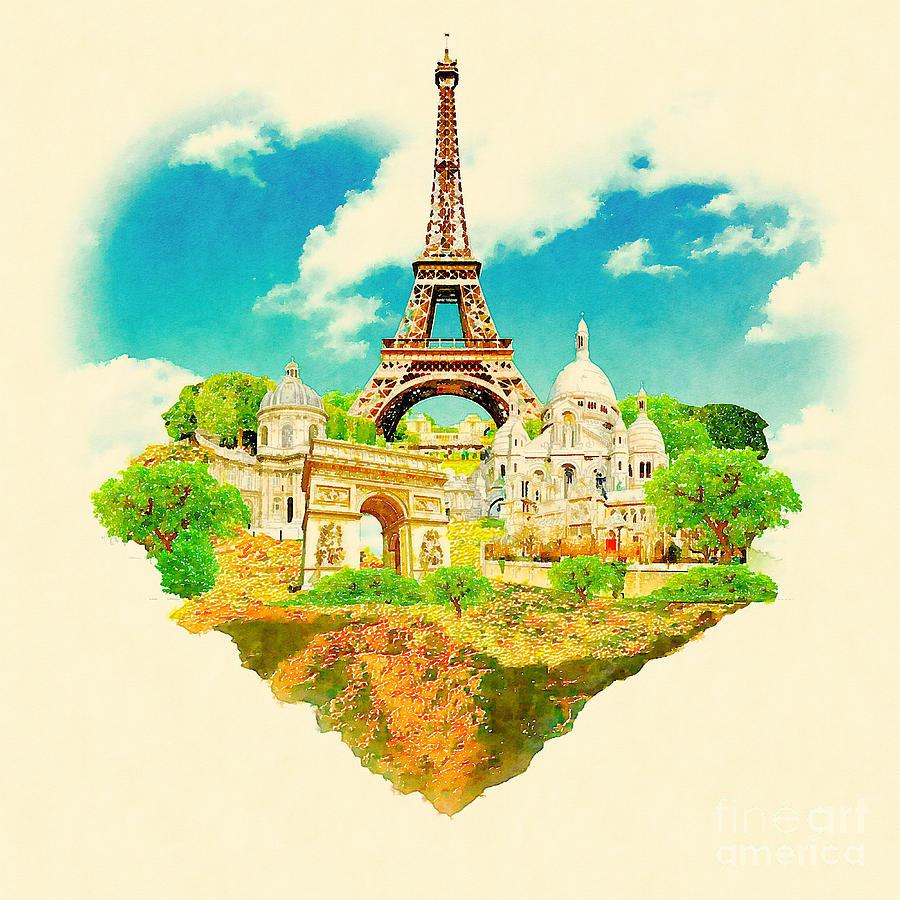Symbol Digital Art - Watercolor Illustration Paris View by Trentemoller