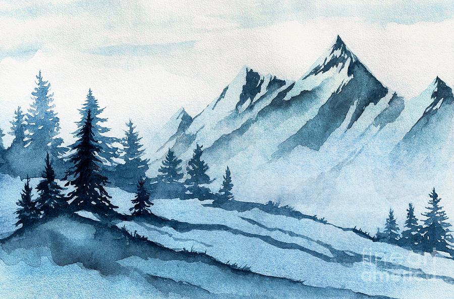 Forest Digital Art - Watercolor Illustration Winter by Alexgreenart