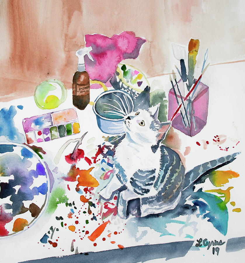 Watercolor - Kitten on my Painting Table by Cascade Colors