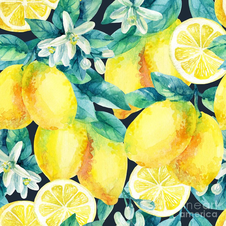 Half Digital Art - Watercolor Lemon Fruit Branch With by Tanya Syrytsyna