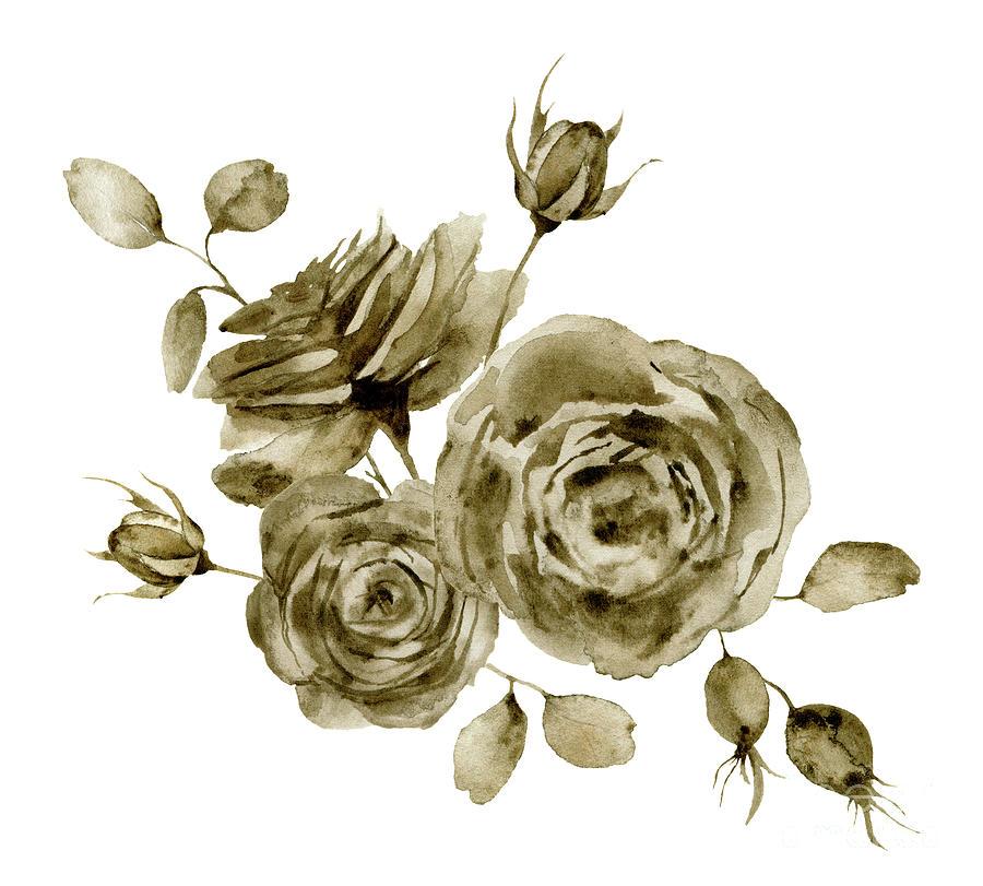 Watercolor Monochrome Rose Bouquet Digital Art by Yuliya Derbisheva